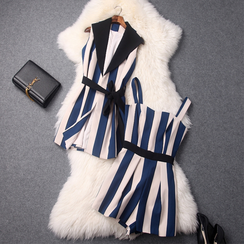 ZJYT Fashion Summer Pants Suits for Women 2018 New Striped 2 Pieces Sets Womens Shorts Suits Set Office Lady Suits Women Outfits