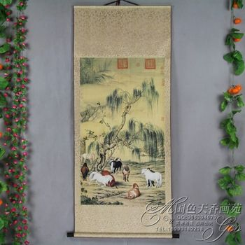 China Antique collection Boutique The eight horse diagram
