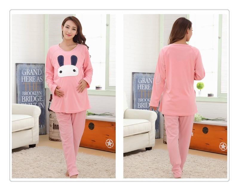 Cartoon rabbit Maternity Nurseing Pajamas (4)