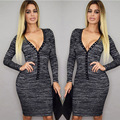 Sexy Gray Women's Deep V Dress Long Sleeve Fitted Stretch Bodycon Slim Sequined Striped Party Mini Dresses Vestidos CL3195