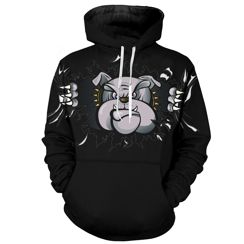 Cloudstyle Pit Bull Print Men <font><b>Hoodie</b></font> <font><b>3D</b></font> <font><b>Animal</b></font> Dog Printed Pullovers Hip Hop Black Sweatshirt <font><b>Unisex</b></font> Hooded <font><b>Hoody</b></font> Plus Size 5XL image