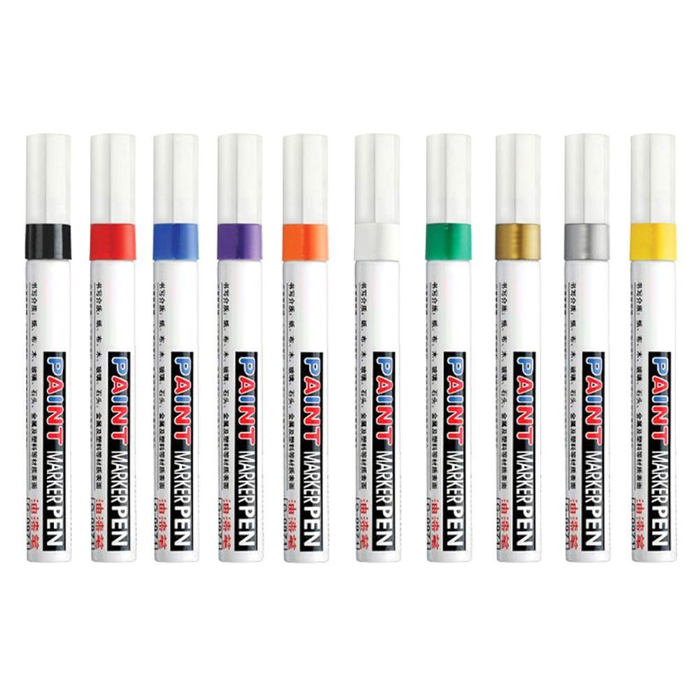 10 Colors Waterproof Paint Pen Care Car Wheel Tire Oily Mark Pen Auto Rubber Tyre Tread Metal Permanent Paint Marker Graffiti