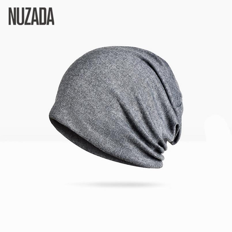 Brand NUZADA Solid Color Unisex Men Women Skullies Beanies Hedging Cap Knit Knitted Cotton Double Layer Fabric Caps Bonnet Hat 1