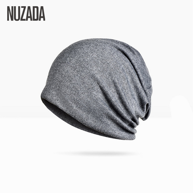 Brand NUZADA Solid Color Unisex Men Women Skullies Beanies Hedging Cap Knit Knitted Cotton Double Layer Fabric Caps Bonnet Hat 1