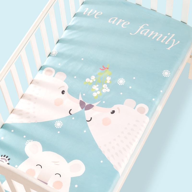 100% Cotton Crib Fitted Sheet Soft Baby Bed Mattress Cover Protector Cartoon Newborn Bedding For Cot Size 130*70cm striped fitted sheet