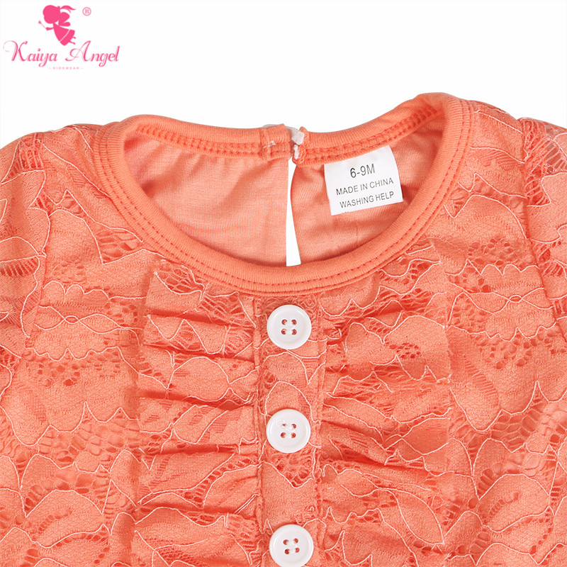 Image 5 - Kaiya Angel Newborn Girls Long Sleeve Peach Lace Romper Fashion  Kids Autumn Style Ruched Jumpsuit Factory Wholesale One PieceRompers