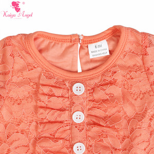 Image 5 - Kaiya Angel Newborn Girls Long Sleeve Peach Lace Romper Fashion Kids Autumn Style Ruched Jumpsuit Factory Wholesale One Piece