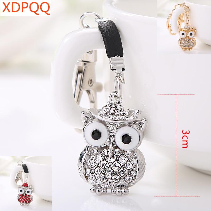 XDPQQ Owl Key Chain Bag Charm Pendant Car Key Chain Rhinestone Alloy Key Ring Jewelry Gift Sweater Accessories
