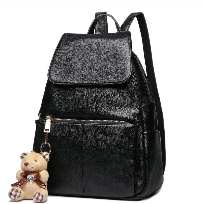 New Design Backpack Female Genuine Leather Women Backpacks School Bag Stripe Multifunctional Leather Back pack on Shoulder bag