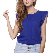 2016 Fashion Short Butterfly Sleeve Women Blouses Clothing Casual Chiffon Shirt Blusas Tops Asymmetric Fold Pattern Plus size