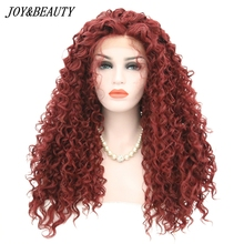 JOY&BEAUTY 24 Inch Long Loose Curly Synthetic Lace Front Wig With Baby Hair Bang