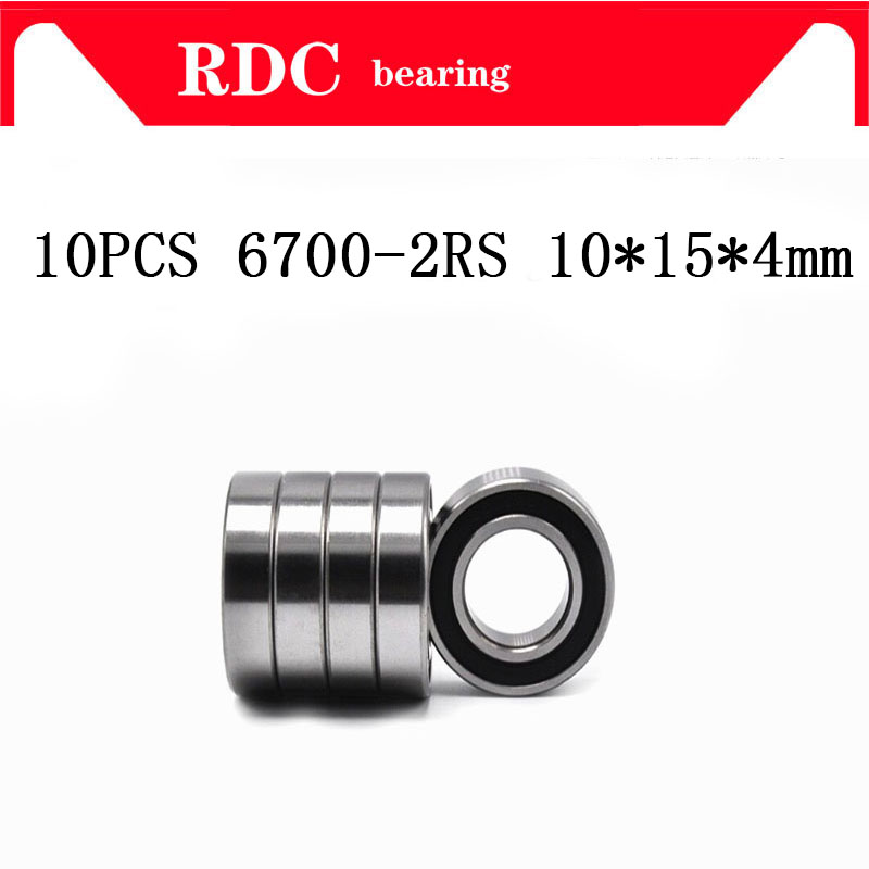 Free Shipping 10PCS ABEC-5 6700-2RS High quality <font><b>6700RS</b></font> 6700 2RS RS 10x15X4 mm Miniature Rubber seal Deep Groove Ball Bearing image