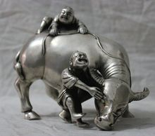 [Chinese antiques world ] Free shipping Chinese Folk Culture HandMade Silver Bronze statue Bull cowhand Boy Sculpture 004