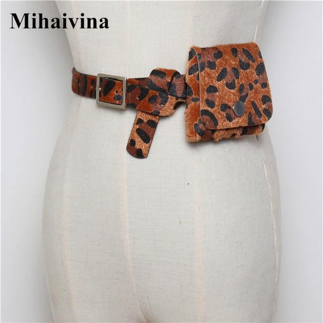 Mihaivina Fashion Women Waist Pack Mini Bag Purse Leopard Waist Bag Fanny Pack Female Detachable Belt Bags Women Waist Trainer