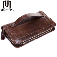 MISFITS Men Wallet Genuine Leather Purse Double Zipper Male Wallet Men's handbags Business Long Phone Wallet Man's Clutch Bags misfits men wallet genuine leather purse double zipper male wallet men s handbags business long phone wallet man s clutch bags