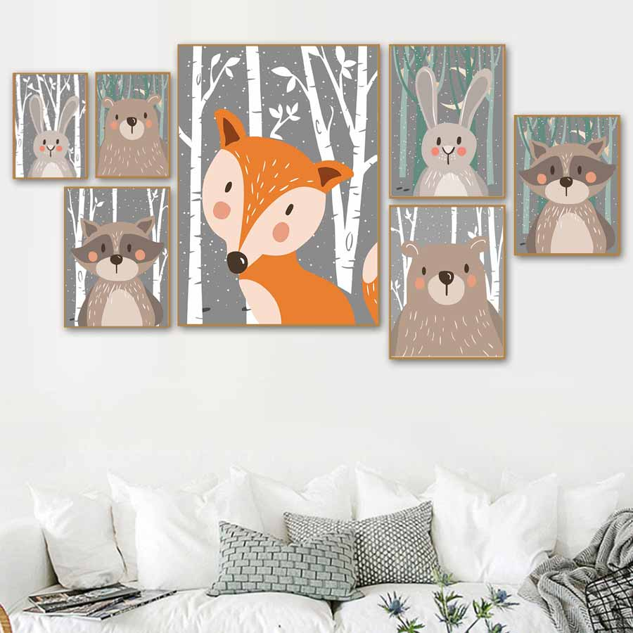 Funny Bear Fox Rabbit Posters Prints Woodland Forest Cartoon Animals Canvas Painting On The Wall Modern Art Pictures Kids Decor