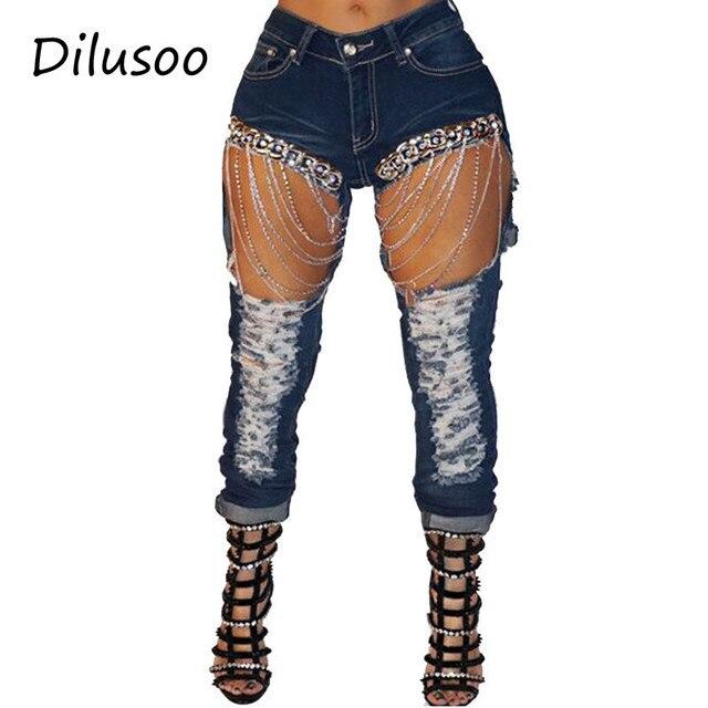 ae4e7dd14 Dilusoo mujeres Streetwear pantalones vaqueros Sexy grandes agujeros Denim  lápiz con de la cadena Europa 4 temporada las