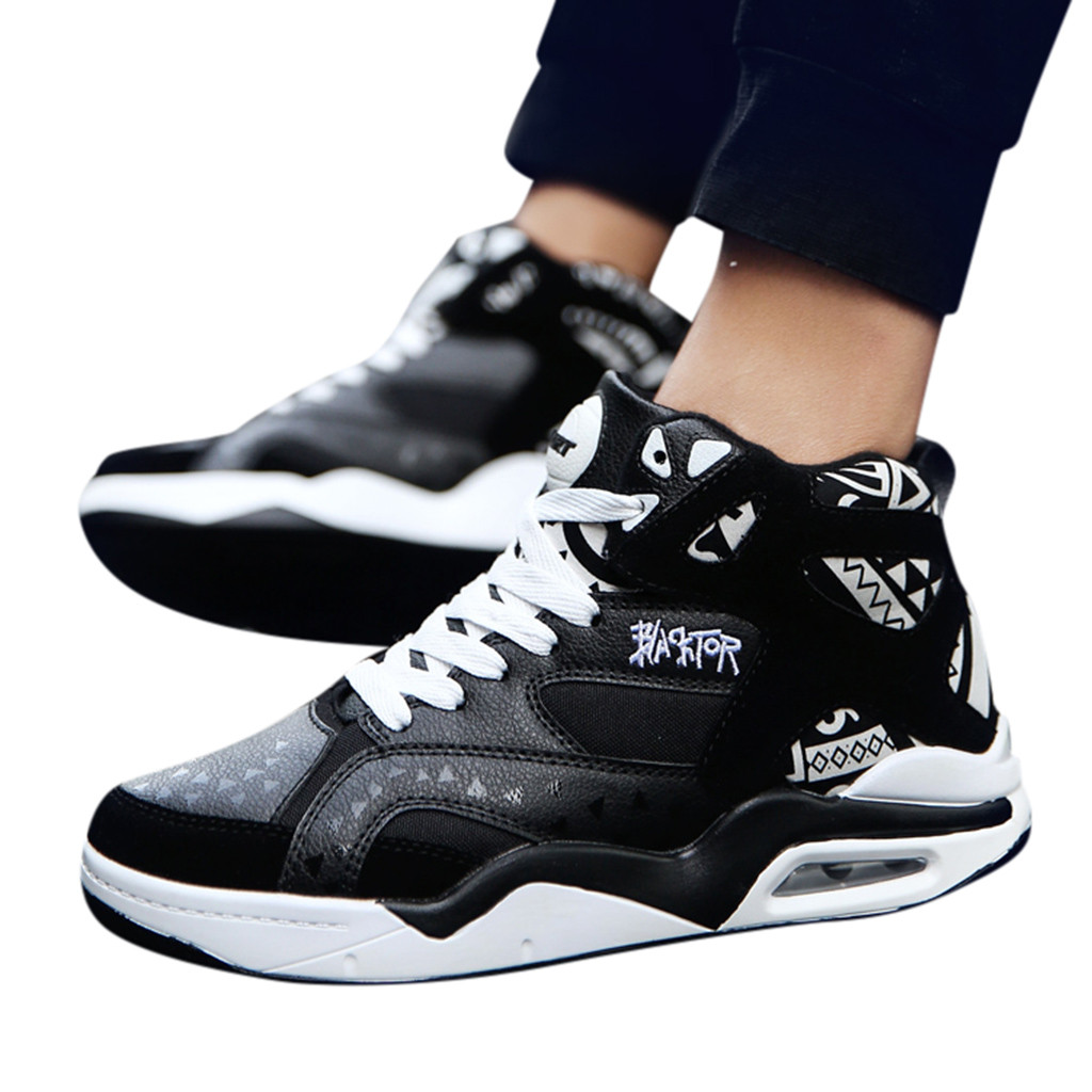 Breathable men high-top sneakers air cushion lace up hip-hop Totem sports shoes non-slip shock absorbing basketball shoes casualBreathable men high-top sneakers air cushion lace up hip-hop Totem sports shoes non-slip shock absorbing basketball shoes casual