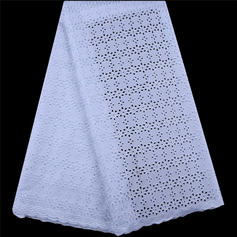 African Voile Fabric 2019 High Quality White Dry Cotton Lace Fabric Swiss Voile Lace With Stones