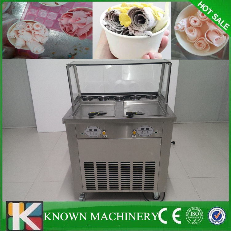 Defrost by pedal plate 110v/220v 2 pan fry roll fried ice cream machine with cooling food tanksDefrost by pedal plate 110v/220v 2 pan fry roll fried ice cream machine with cooling food tanks