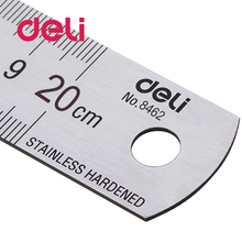 Deli 1pcs Steel Ruler Metal sliver Stainless 20 cm 7.5 inch Steel Ruler Office Tools Precision Drafting Supplies 8462