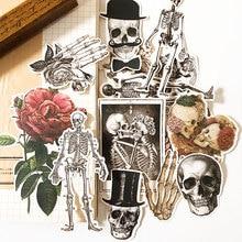 Pegatinas de Hombre esqueleto Vintage para niños DIY álbum de recortes diario artesanías Paquete de pegatinas decorativas DIY álbumes de fotos