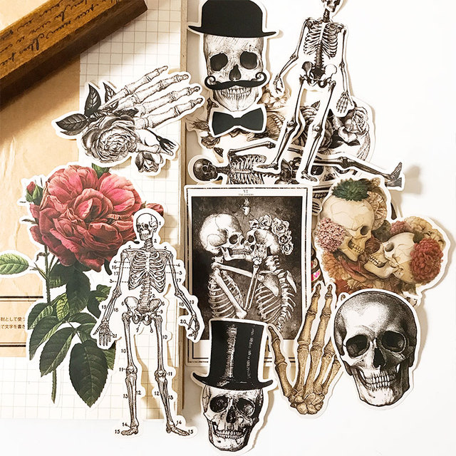 Vintage Skeleton Man Stickers Children DIY Scrapbooking Album Journal Crafts Decorative Stickers Package DIY Photo Albums