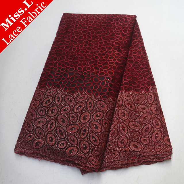 Latest Design French Tulle Lace Fabric 5 Yards/Piece African Net Lace Nigerian Guipure Lace With Stones For Burgundy Dresses