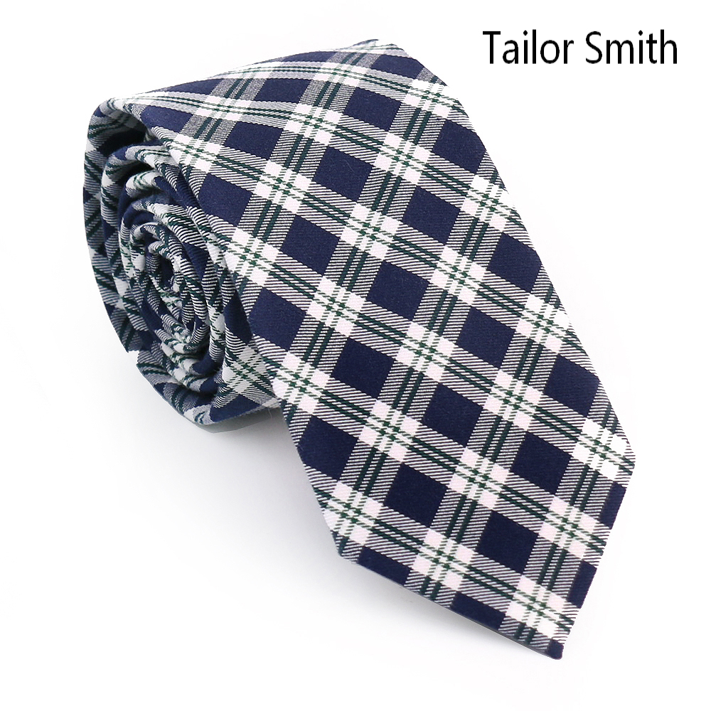 Tailor Smith Top Quality 100 Cotton Plaid font b Tartan b font Style Check Necktie Fashion