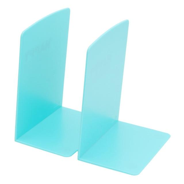 2Pcs Random Color Book Ends Shelf Plastic Bookends L Shaped Case Holder Home Office