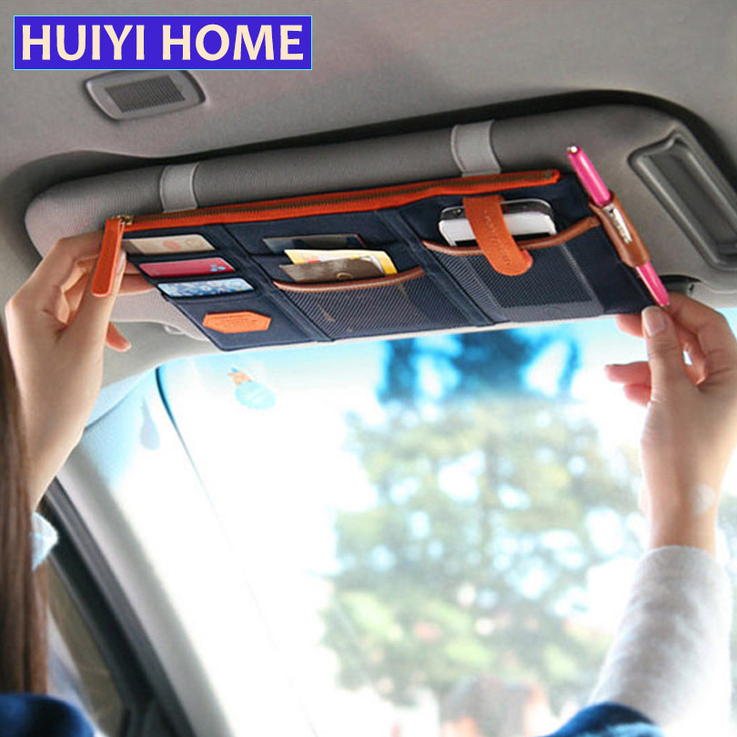 Huiyi Home Auto Sun Visor Storage Bag Hanging Credit Card Namecard Organizer Holder Documents Pouch Accessories EGO012