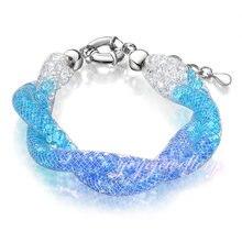 Mytys Azul Claro Pulsera Cristalina del Acoplamiento de Cristal Dos Filas Pulsera de Cadena Mujeres B447