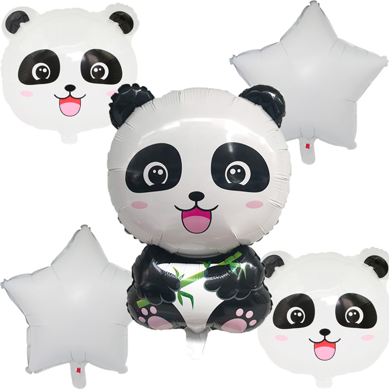 Cake Topper Panda Theme Foil Balloons Birthday Party Banner Inflatable Toy