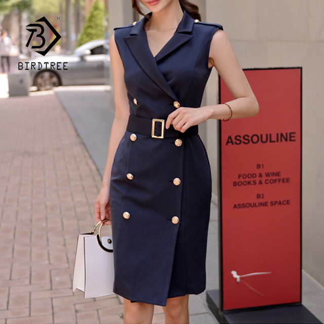 87f5183fa5dcd NEW Women Solid Notched Double Breasted Sleeveless High Waist Bodycon  Blazer Dress With Belt Elegant Office Lady Dresses D86902F