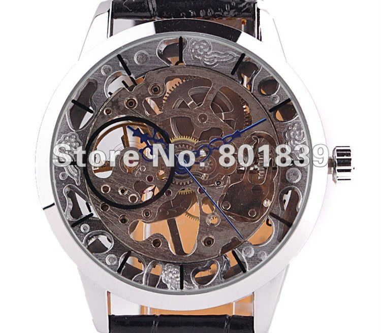 wind up watch men promotion shop for promotional wind up watch men see through silver tone hollow skeleton wind up mechanical mens wrist watch a448