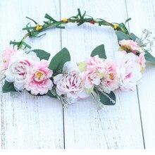 Light blue orange pink flower Crown Adult Floral Fairy Costume woodland Boho Bridal wedding hairpiece Garland
