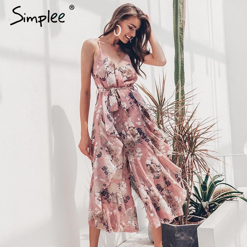 Simplee Bohemian floral print women   jumpsuit   Sexy v-neck spaghetti strap sashes   jumpsuit   romper Elegant ruffled female overalls