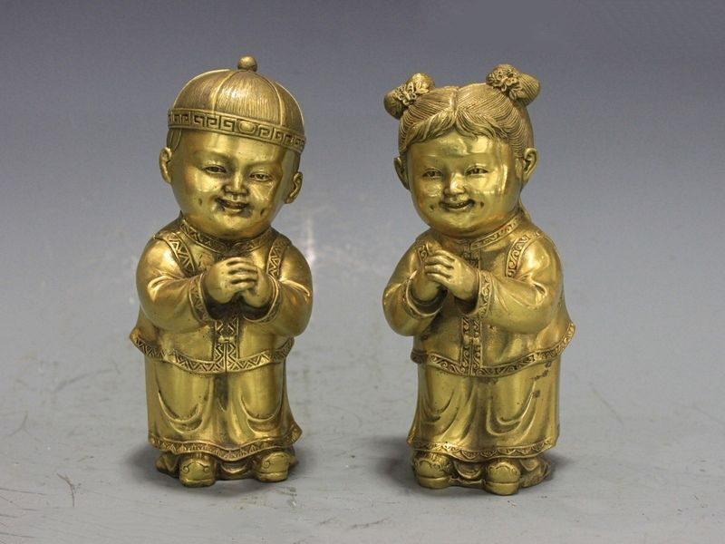 China Pure Copper Brass Auspicious Fengshui golden boy and jade girl StatueChina Pure Copper Brass Auspicious Fengshui golden boy and jade girl Statue