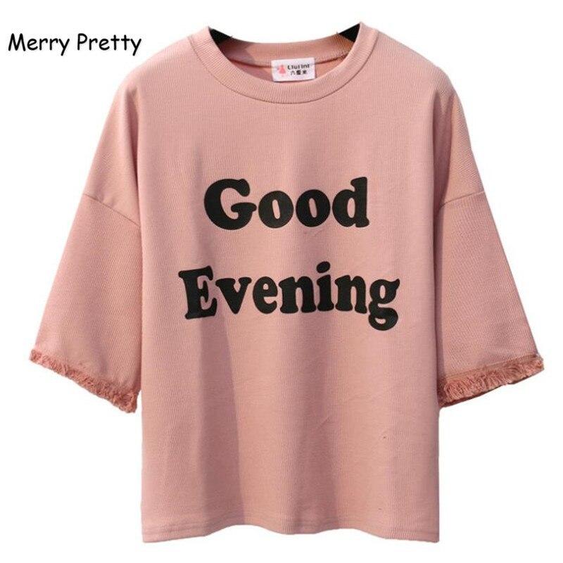 FROHE ZIEMLICH Rosa Harajuku Stil Frauen t shirt Baumwolle Tops Quaste Brief Drucken Batwing Hülse Weibliche T-shirts Casual Lustige Top
