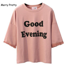 MERRY PRETTY Pink Harajuku Style Women t shirt Cotton Tops Tassel Letter Print Batwing Sleeve Female T-shirts Casual Funny Top