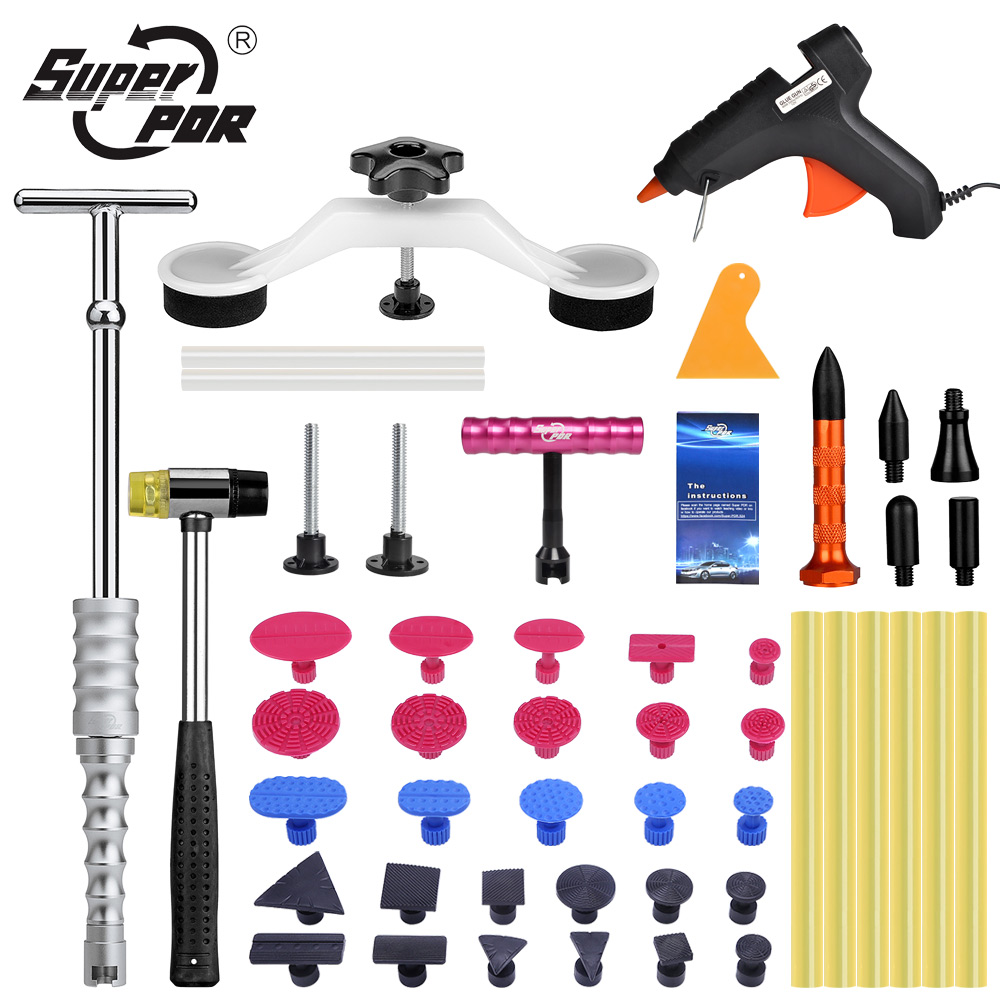 Super PDR Tools Kit For Car Dent Pullers Suction Cup Black Hot Melt Glue Gun For Hot Adhesive Glue Sticks White Pulling Bridge super pdr tools dent removal kit for car dent puller suction cup glue sticks for hot melt glue gun line board pump wedge air bag