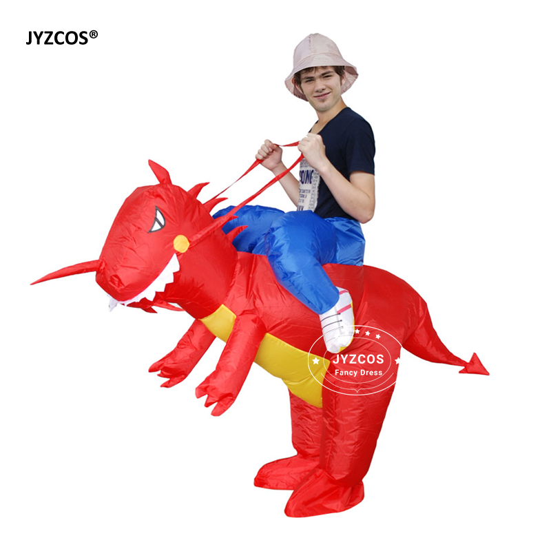 JYZCOS Man Riding inflatable T-rex Dinasour Costume Fan Operated Costumes Halloween Party Fancy Dress Animal Costume for Adults (4)