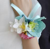 5Pcs/Lot Hand Made Brand New Blue color Silk Flower Wedding Party Prom Bridal Mother Bridesmaid Hand Wrist Flower Women Corsage