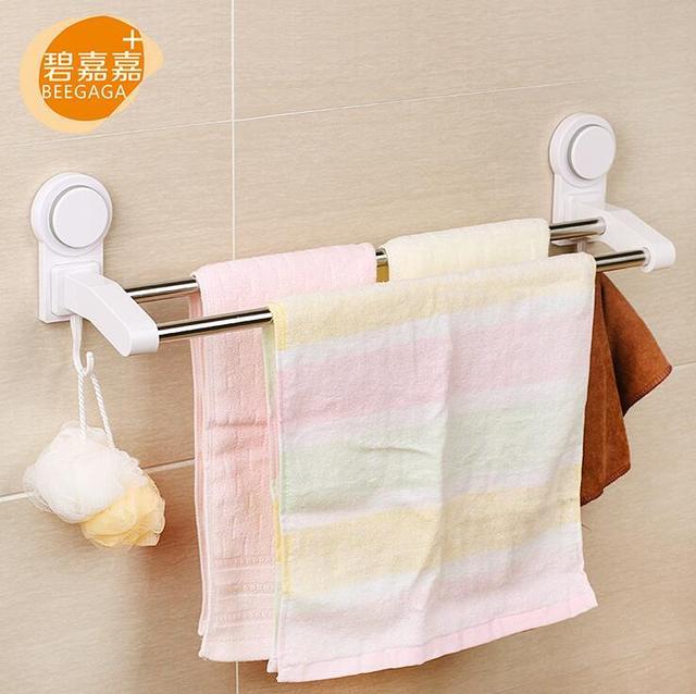 Doppel Saugnapfe Handtuchhalter Mit Haken Badezimmer Zubehor 60 Cm