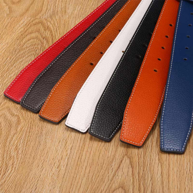 7 colors High Quality Leather Men Belts Male Belts No Buckle For Women H Buckle Two Sides Female Belt Straps With Holes|Men