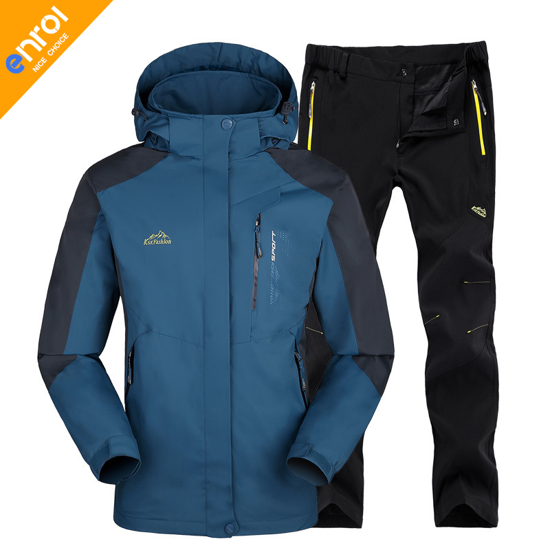 Men Women Winter Outdoor Jacket Pants High Quality Windproof Waterproof Softshell Hiking Camping Multicolors Couples yin qi shi man winter outdoor shoes hiking camping trip high top hiking boots cow leather durable female plush warm outdoor boot