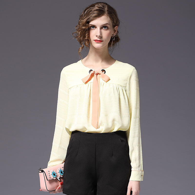 New Fashion Chiffon Blouse with Neck Bow Yellow Color Spring Shirt Relaxed Fit Casual Tops Office Lady Shirts ssk054