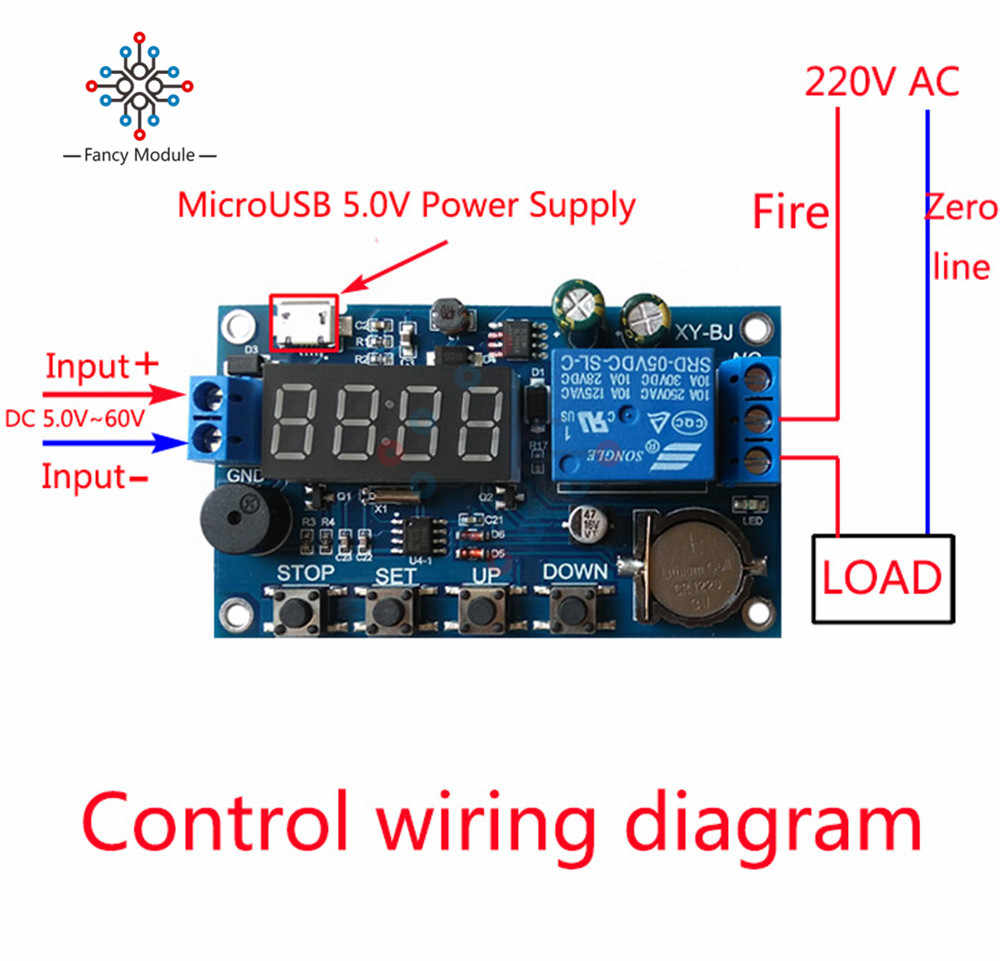 dc 5v real time timing delay timer relay module switch control clock synchronization multiple mode control  [ 1000 x 961 Pixel ]