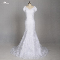LZ188 Women Classic Short Sleeve V Neck Mermaid Simple Wedding Dress Lace Dress Vestido De Noiva