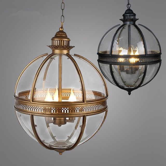 globe pendant lighting. Vintage Loft Globe Pendant Lights Wrought Iron Glass Shade Kitchen Light Dinning Hanging Lamps Bar Pendente Lighting A